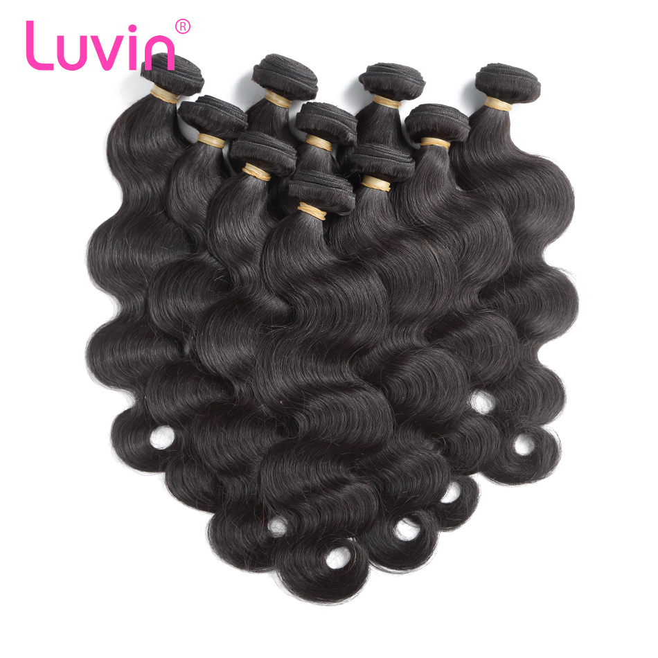 <font><b>Luvin</b></font> Wholesale 30 40 Inch 10 Bundles Brazilian <font><b>Hair</b></font> Weave Bundles Double Drawan 100% Human Body Wave <font><b>Hair</b></font> Shipping Free image