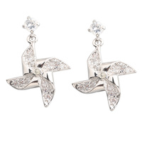 Windmill White Stone 2 2mm Semi Precious Silver Cool For Womens Stud Earrings ED0405