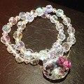 Mercancías de la calidad del Encanto Lindo Crystal Beads Hello Kitty Pulsera Elástica (Una Fila de Tres Fila) Envío Gratuito