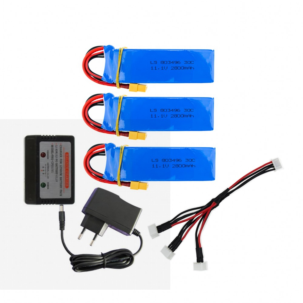 CX20 Newest Cheerson CX-20 3PCS 11.1V 2800mah 30C Li-po Battery With Charger CX 20 RC Quadcopter Spare Parts Max Rate For Toys 4pcs cheerson cx 35 rc quadcopter spare parts propeller blades