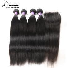 Волосы бразильских волос для волос Joedir Hair Hair с прямыми прямыми волосами 4 штуки с закрытием Non Remy Hair Extensions