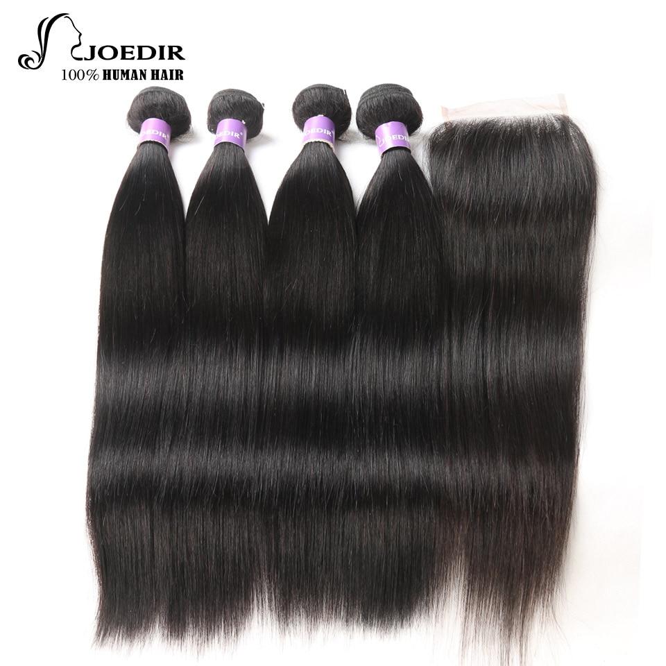 Joedir Hair Brazilian Hair Weave Bundles With Closure Straight Hair 4 Bundles With Closure Non Remy Hair Extensions