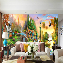 American country oil painting large seamless mural 3D TV background hotel bar wallpaper living room bedroom study household deco цена 2017