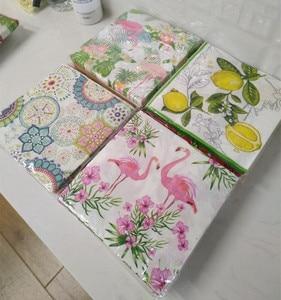 Image 3 - Guardanapos de papel decoupag festa de aniversário do casamento natal tecido vintage flor limão listrado beautifly serviletas decoração da mesa