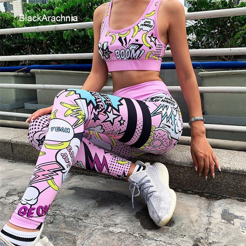 Funy Decor Women Tummy Control Workout Leggings Running Cartoon Digital Printed High Waisted Yoga Pants