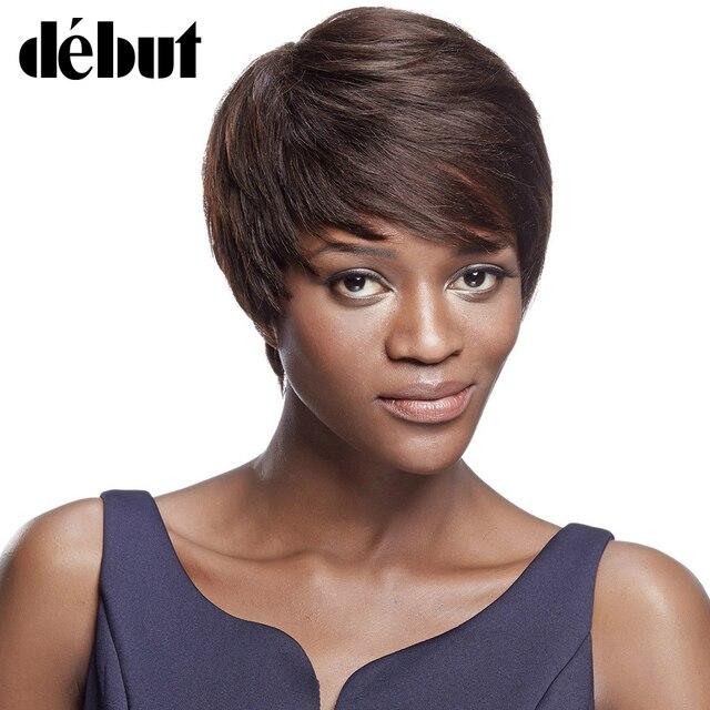 Debut Short Pixie Cut Wigs for Black Women 100% Human Hair Wig with Bangs  Brazilian Remy Human Hair Straight Dark Brown 2  46172d3f37