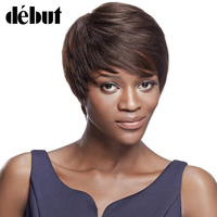 Debut Short Pixie Cut Wigs for Black Women 100% Human Hair Wig with Bangs Brazilian Remy Human Hair Straight Dark Brown 2#