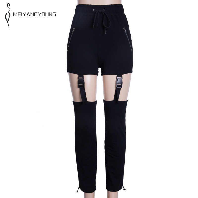 Women black punk pants with stars schoolgirl hip hop pants lady hipster trousers mid waist straight streetwear strap buckle kpop
