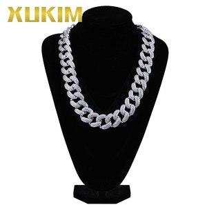 Image 5 - Xukim ювелирные изделия, большой размер 28 мм, блестящая золотая цепочка, кубинская цепочка, ожерелье Рок рэпер, ледяной хип хоп ювелирные изделия, вечерние подарки