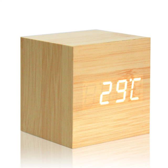 52457a2cc35 placeholder Termômetro Digital De Madeira LEVOU Despertador Backlight  Controle de Voz Alarme Luminoso Relógios de Mesa Relógio