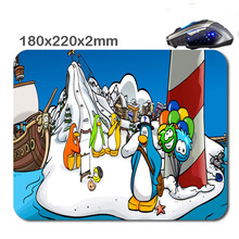 220*180*2mm Desgn Print Club penguin Non-Slip Durable Computer Laptop Gaming Rubber soft Mouse Pad in As office Gift for player