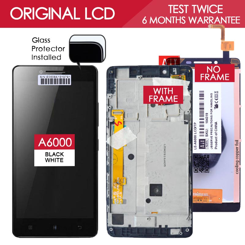 5 inch 100 Tested TFT 1280x720 Display For LENOVO A6000 LCD Touch Screen with Frame Digitizer