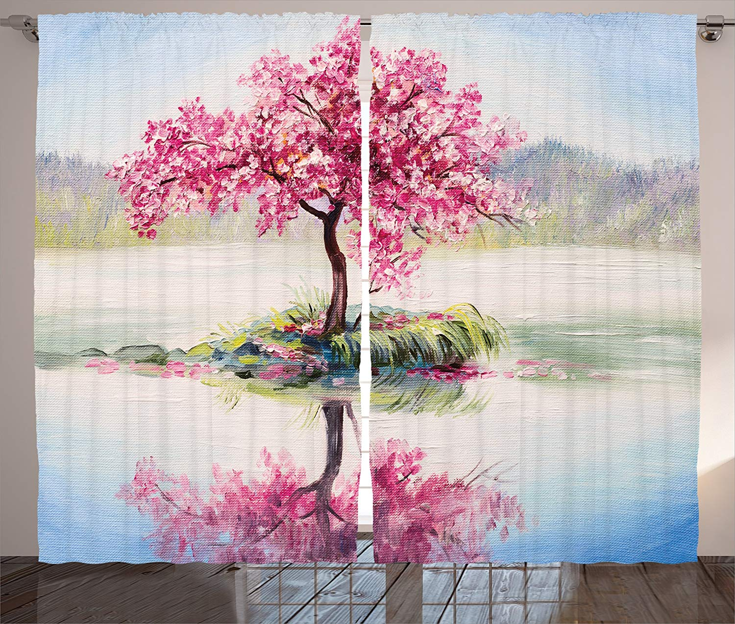 Country Decor Curtains 2 Panel Set Image Of Blooming Japanese Cherry Tree Sakura On The Lake Soft Romantic Culture Work Living