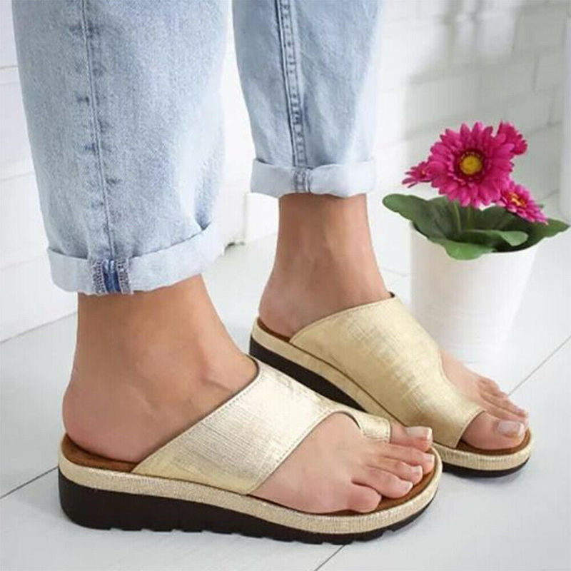 HTB1RCMTcR1D3KVjSZFyq6zuFpXaA Women PU Leather Sandals Flip Flops Woman Shoes Platform Flat Sole Casual Orthopedic Bunion Corrector Ladies Foot Correction