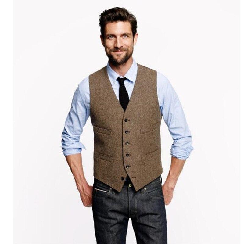 Nouveau Tweed gilet hommes Vintage été hiver Slim Fit marié porter gilet hommes de mariage gilets offre spéciale costume gilet
