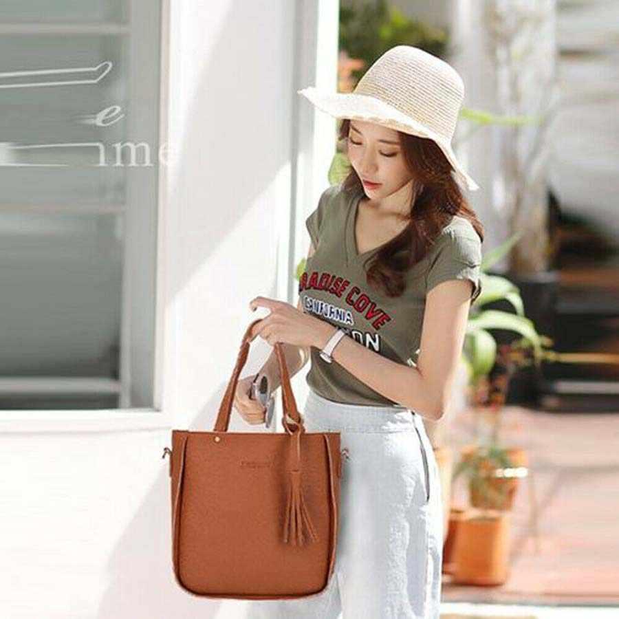 4 pcs Moda Feminina Conjunto Senhoras Bolsa de Couro Shoulder Bag Tote Bolsa Mensageiro Satchel bolsa de Ombro Bolsas Saco Conjunto