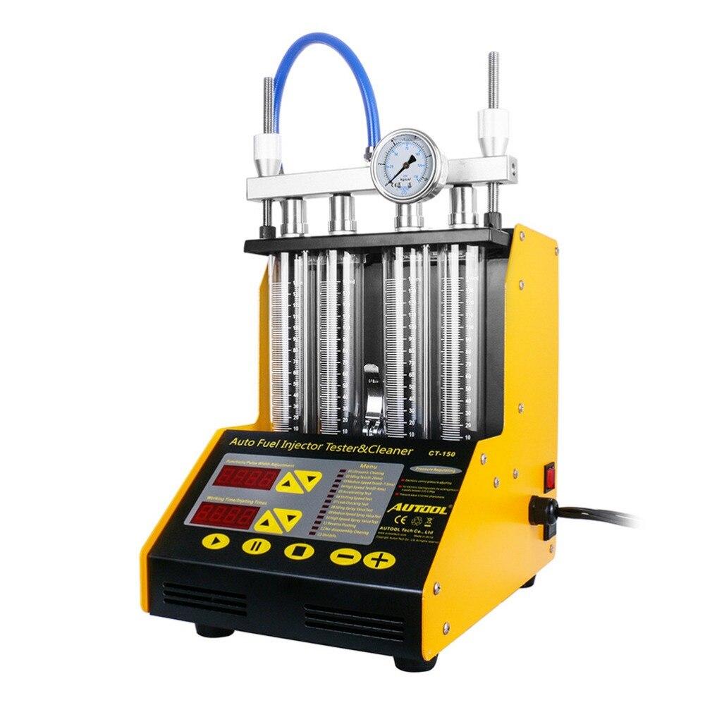 AUTOOL CT-150 4 Cylindre Ultrasons Injecteur de Carburant Plus Propre Testeur 220 v/110 v Petite Taille pour Voiture À Essence Moto injecteur