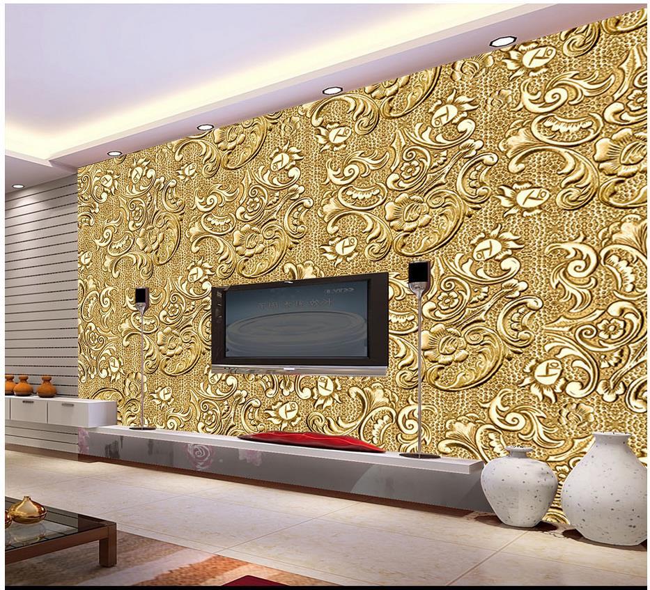 Custom Photo Wallpaper 3d Wall Murals Wallpaper High Grade Gold