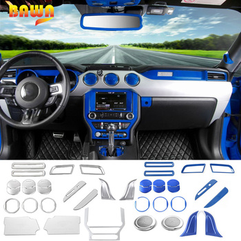 BAWA Interior Mouldings for Ford Mustang 2015 UP ABS Silver Blue Car Dashboard Air Vent Cover Interior Decoration Stickers Kit