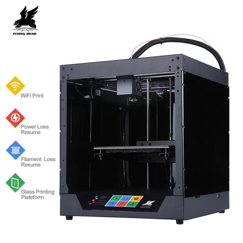 Más Flyingbear-fantasma 3d impresora completo de marco de metal de alta precisión 3d kit de impresora de vidrio plataforma wifi