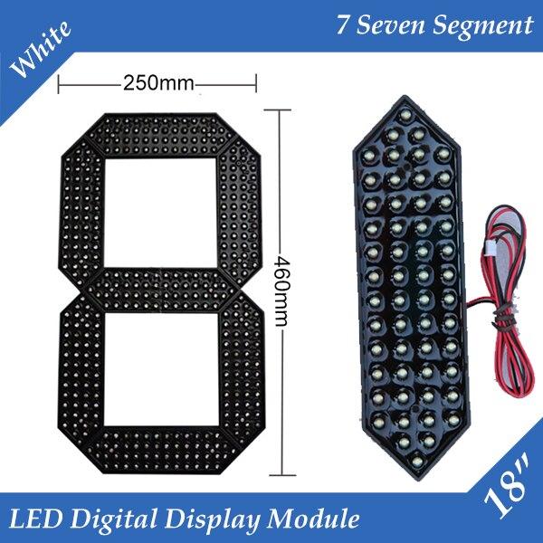 """10 개/몫 18 """"화이트 컬러 야외 7 7 세그먼트 led 디지털 번호 모듈 가스 가격 led 디스플레이 모듈"""