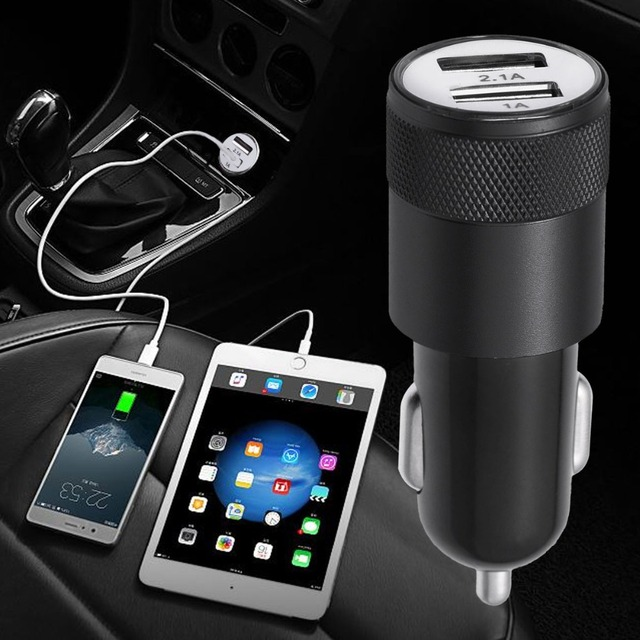 VORCOOL 2.1A 1A Car Charger 2 Dual USB Ports Cargador Socket USB Auto Intelligent Aluminum Alloy Charger Adapter for Phone iPad