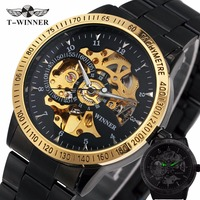 1 SKELETON Oversize Men S Automatic Mechanical Wrist Watch Golden Metal Strap Black Dial Case