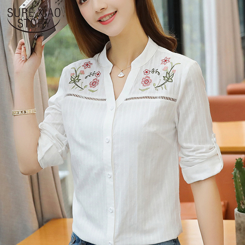 2018 Fashion Floral Embroidery Women's Blouse Long Sleeve Women Tops Blusas White Office Lady Shirt Women Clothing D839 30