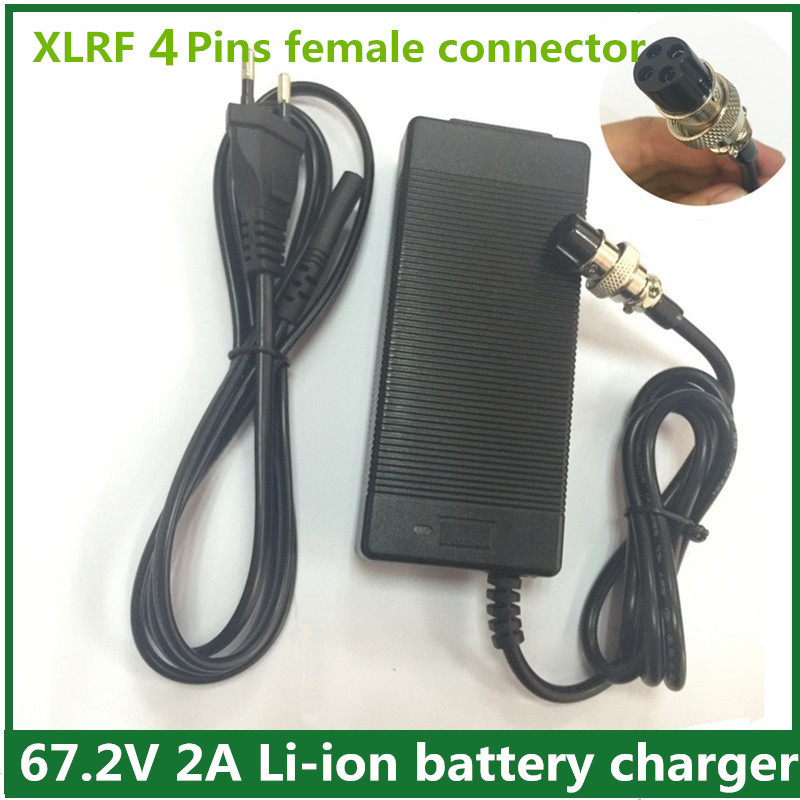 67.2V2A/ 67.2V 2A charger for Wheelbarrow Electric self balancing unicycle scooter skateboard charger XLRF four pins