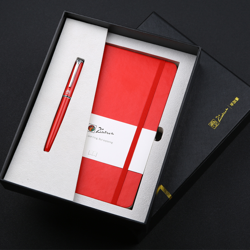 Picasso T61 Luxury Sexy Charm Red and Silver Clip 0.5mm Iridium Nib Fountain Pen + Notebook with Original Box for Business Gift picasso 966 red fountain pen hooded fine nib shimmering sands with original box