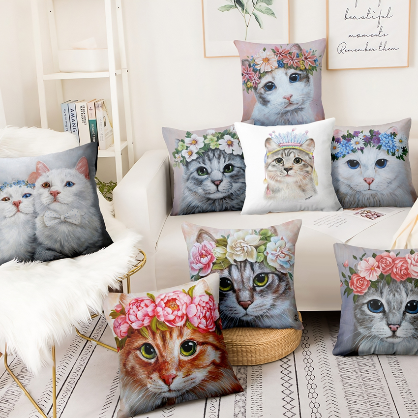 Cat In Flowers Printed Pillowcase Cute Meow Thin Linen Cushions Decorative Pillow Home Decor Sofa Throw Pillow Cat Cushion 45*45