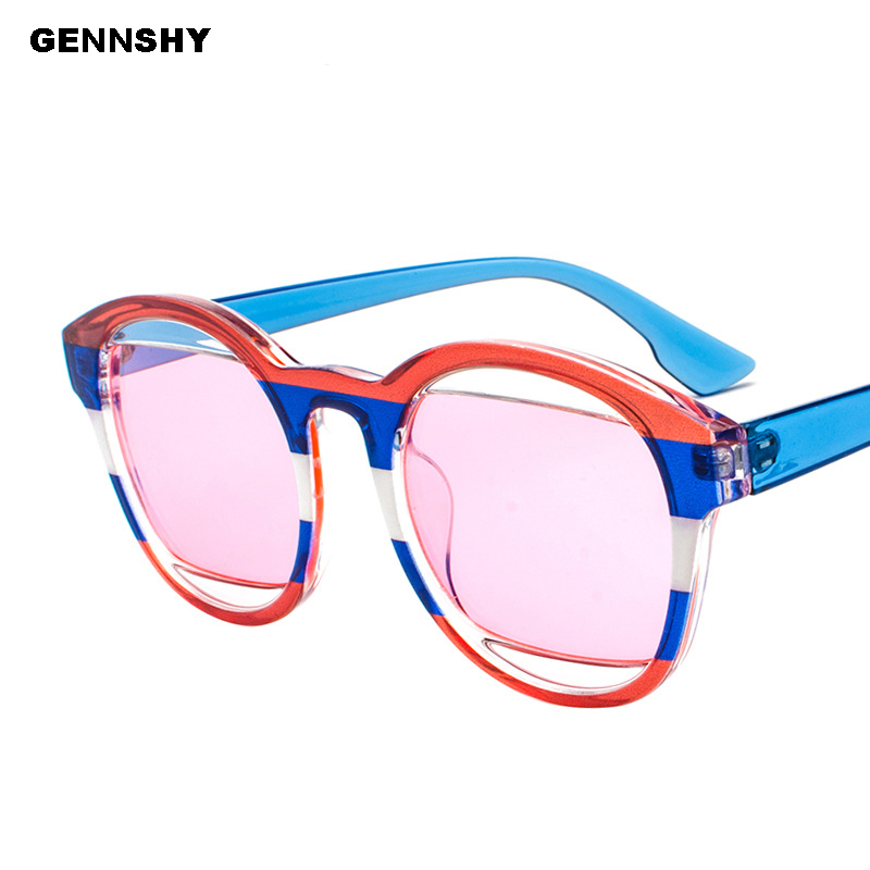 2018 Retro Fashion Sunglasses Women Men Colorful Flag Decoration Sunglasses Transparent Ocean Lenses Sunglasses Traveling