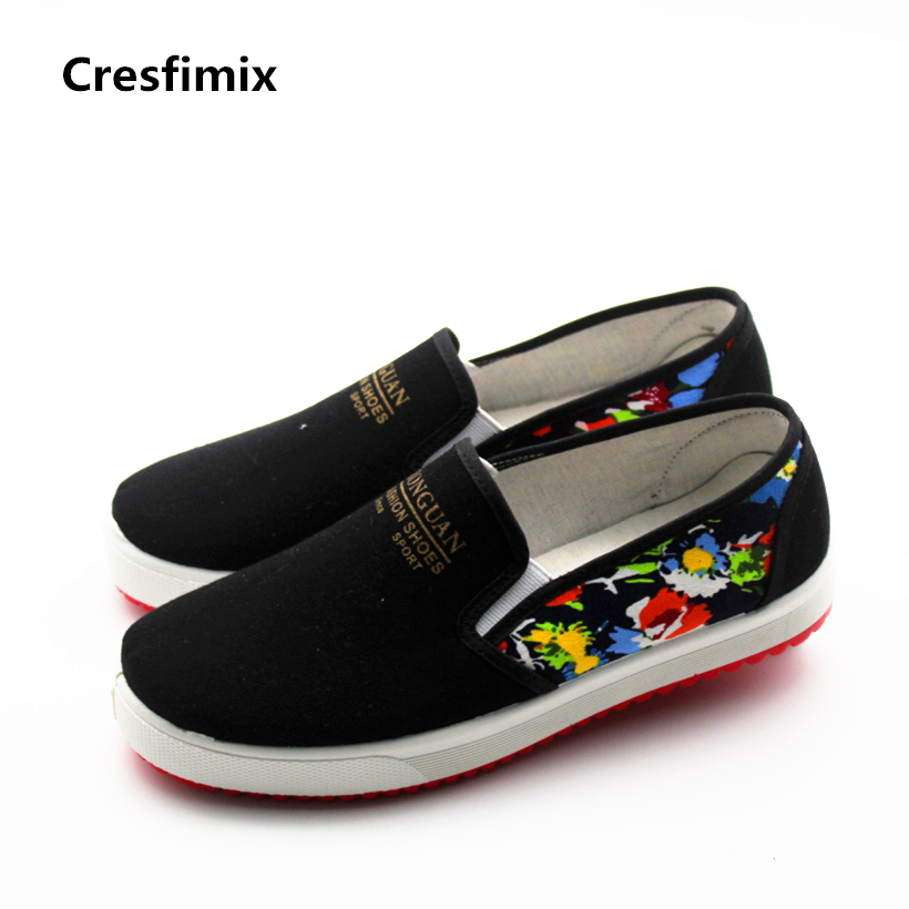 Cresfimix women casual spring comfortable slip on flat shoes lady soft pattern round toe shoes female cool black canvas shoes cresfimix women cute black floral lace up shoes female soft and comfortable spring shoes lady cool summer flat shoes zapatos