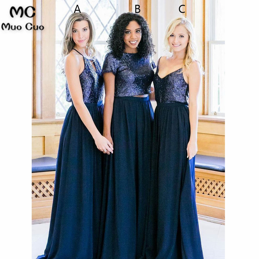 2018 Navy Blue Bridesmaid Dress With Sequined Abc Design Chiffon