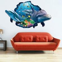 Underwater Fish Dolphin 3d Vivid Window Wall Stickers