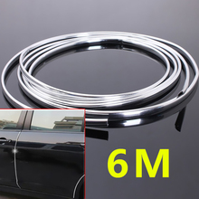 6m U Style DIY Car Styling Mouldings Trim Strip Air Conditioner Outlet Vent Car SUV Boots Grills Bumpers Door Edge Scratch Guard 6m chrome silver car body door edge moulding trim strip scratch guard protector air conditioner air outlet decorative strips
