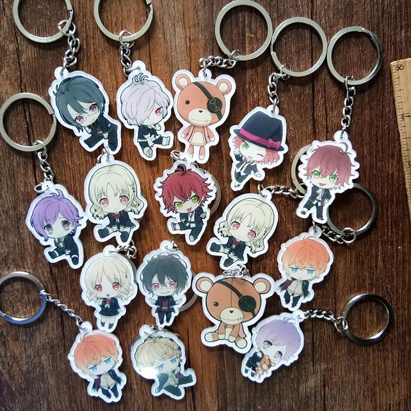 Portachiavi DIABOLIK LOVERS Komori Yui Ayato Kanato Laito Azusa Shu Acrylic Keychain Pendant Keyring Anime Keychain