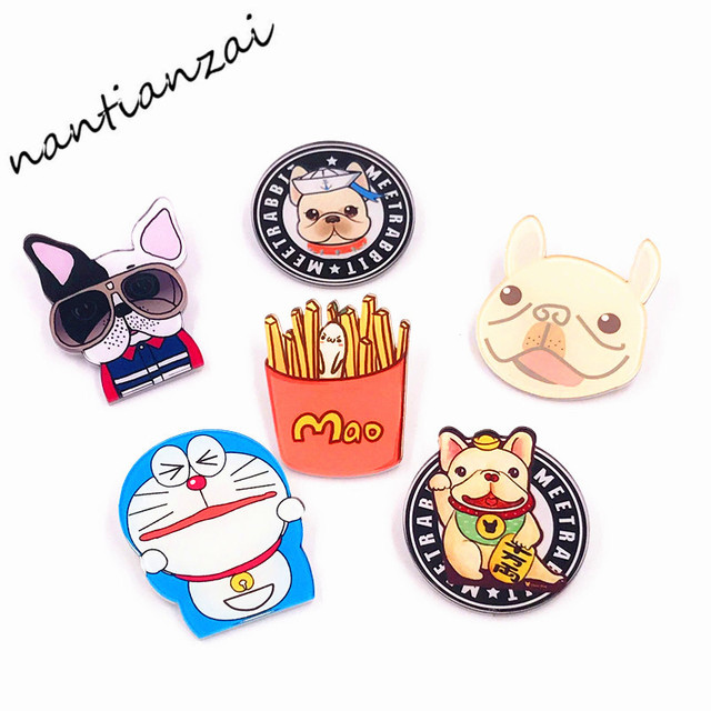 7364f1193 1 PCS Free Shipping Kawaii Dog Doraemon Fries Acrylic Badge Cartoon Icons  pins on Backpack Clothes Brooch Fashion Jewelry