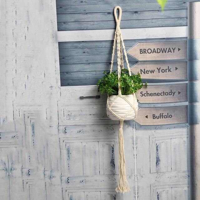 Tanaman Bunga Pot Keranjang Antik Macrame Flowerpot Penahan Menanam Tali  Gantung Dinding Gantungan Seni Dekorasi Rumah 5bef6ff288