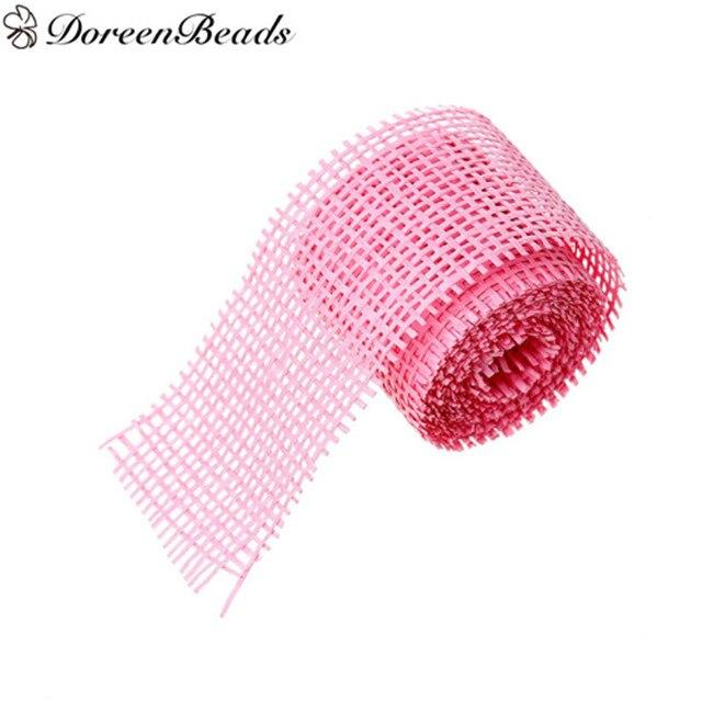 Doreenbeads Paper Mesh Net Easter Ribbon Pink For Diy Decorative