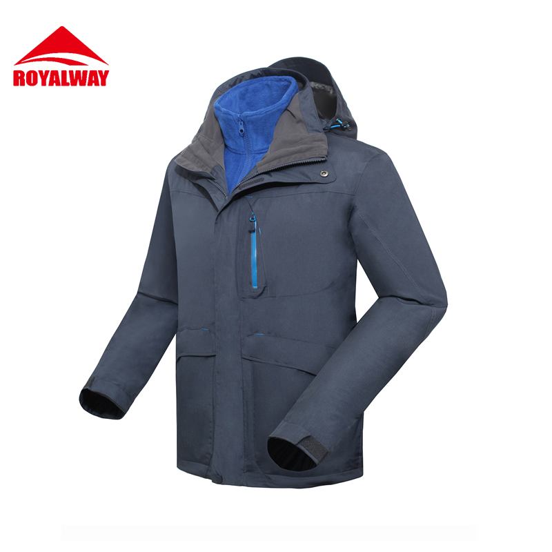 ROYALWAY 2Pieces Men Hiking Jackets Outdoor Quick Dry With Fleece Softshell Jacket Men Free Shipping#RFOM4309E
