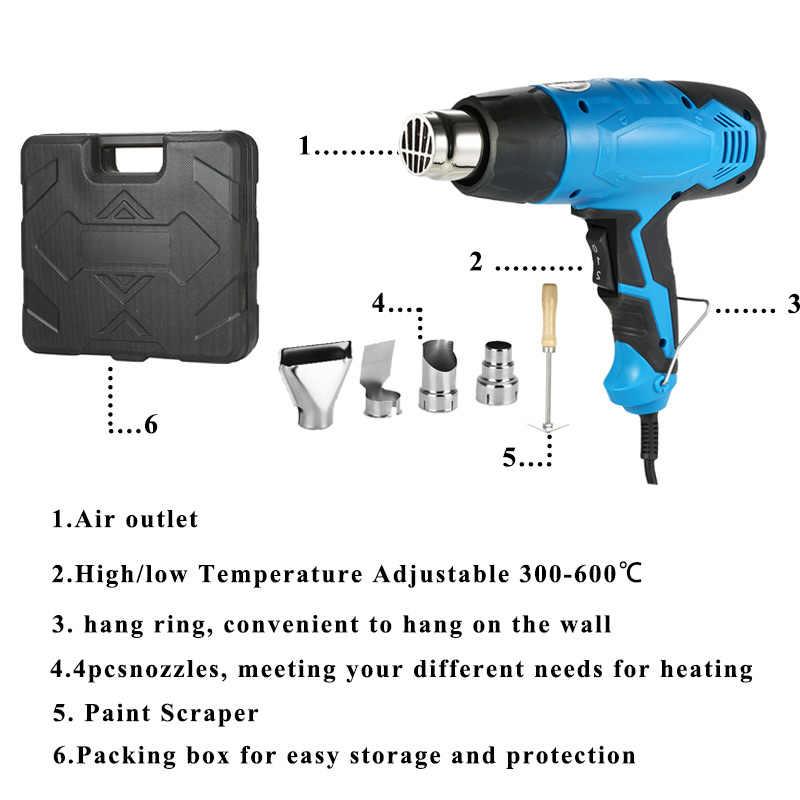 2000W Heat Gun Solderen föhn Heteluchtpistool Temperatuur-gecontroleerde Building föhn Warmte guns met 4 nozzles power tools