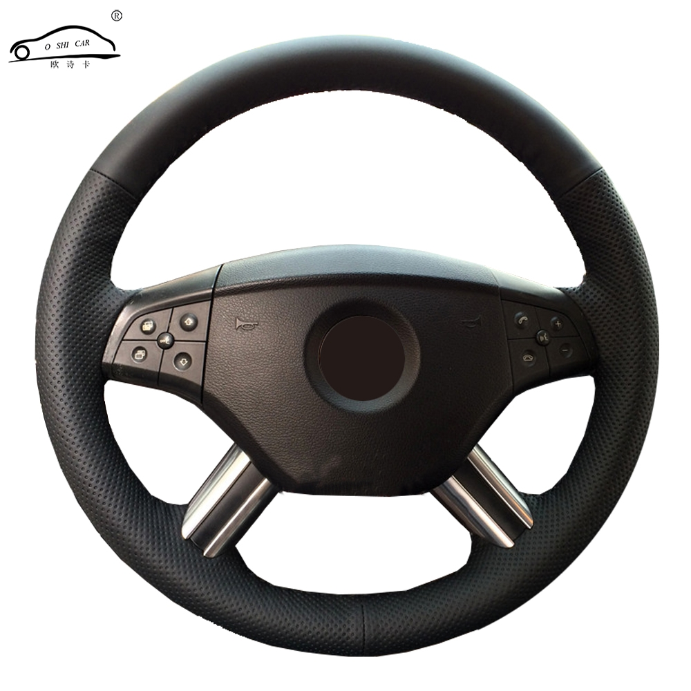 Car steering wheel braid for Mercedes Benz M-Class ML350 ML500 2005 2006 GL-Class GL450 2006-2009/Custom Steering-Wheel Cover first layer leather car steering wheel cover for 2003 2004 2005 2006 2007 2008 2009 kia sorento braid on the steering wheel