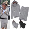 2016 Women Clothing Sets Suit Casual Tracksuits 2pcs/set Cotton Hoodies Irregular Cropped Skirts Long sleeve Sweatshirt