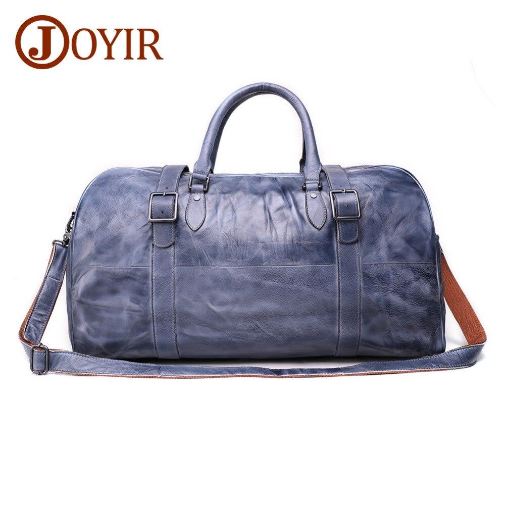 JOYIR Genuine Leather Travel Bags Vintage Men Travel Duffel Bags Large Capacity Cow Leather Luggage Weekend