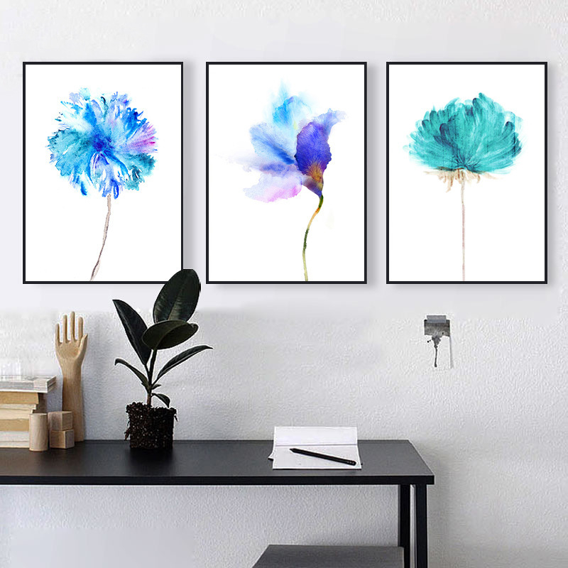 simple bleu rose aquarelle floraison fleur toile murale papier chair nordique art affiche dessin. Black Bedroom Furniture Sets. Home Design Ideas