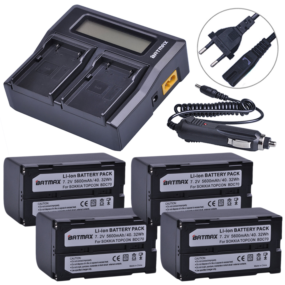 4Pcs 5600mAh BDC70 Battery + LCD Rapid Dual Charger for Topcon Sokkia Total Stations, Robotic Total Stations and GNSS Receivers4Pcs 5600mAh BDC70 Battery + LCD Rapid Dual Charger for Topcon Sokkia Total Stations, Robotic Total Stations and GNSS Receivers