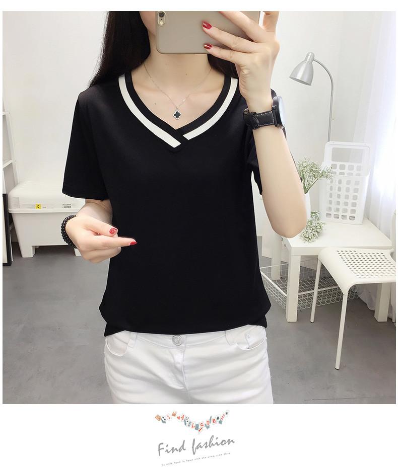 4XL 5XL Plus Size Korean Women's Clothing Fashion Big Size T-shirt Female V neck Short Sleeve Casual obesity Tee Shirt Top Femme 41