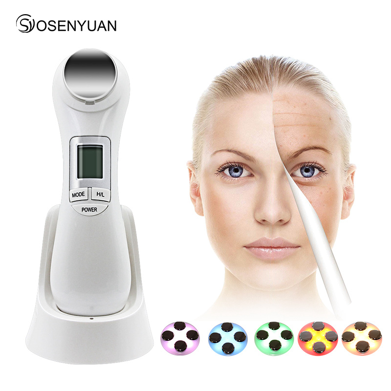 Hot Double Facial RF Radio Frequency No Needle Mesotherapy Photon LED Light Skin Rejuvenation Face Lift Massager Beauty Care