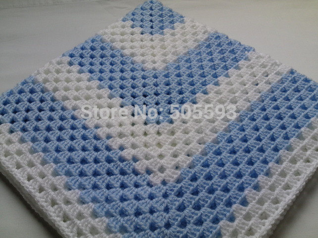On Sale Crochet Baby Blanket Afghan Nursery Bedding White Blue